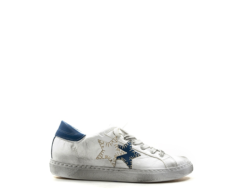 Scarpe 2 STAR Donna Sneakers Trendy BIANCO Pelle naturale 2SD1802S ... c743886aa9c