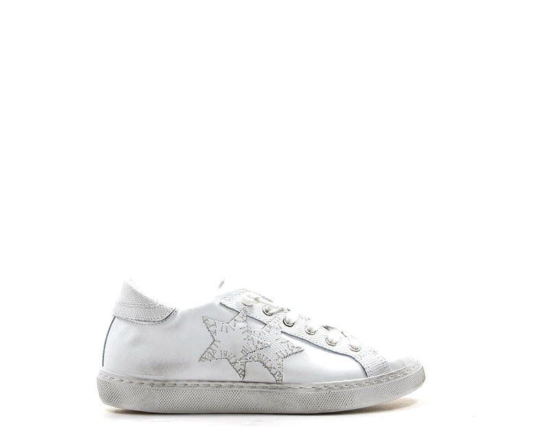 Scarpe 2 STAR Donna Sneakers Trendy BIANCO Pelle naturale 2SD2000  2d28f966544