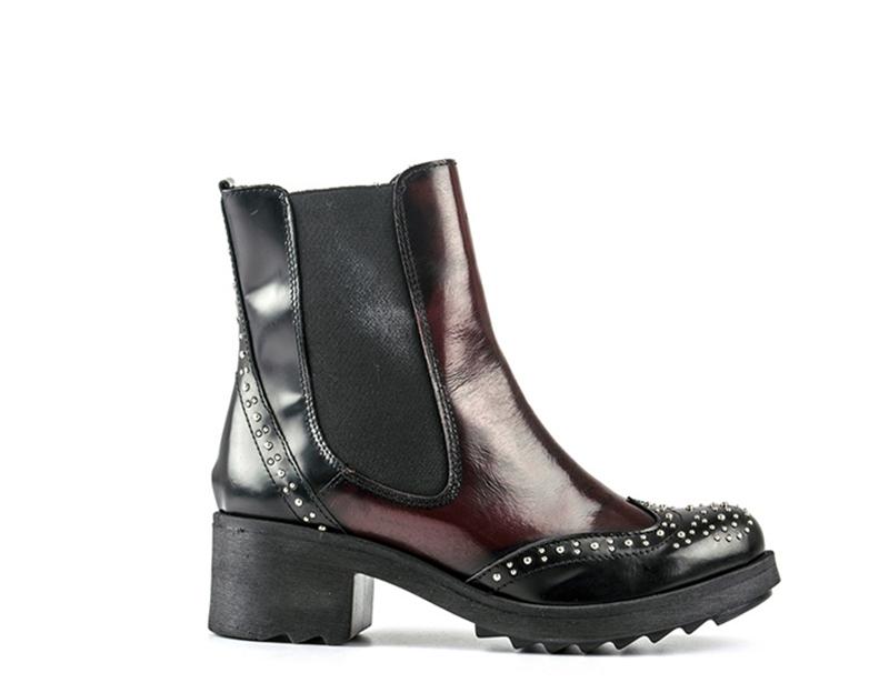 Schuhe REBECCA VAN DIK Frau NERO/BORDEAUX Naturleder,Stoff VITTORIASTUDS-NB