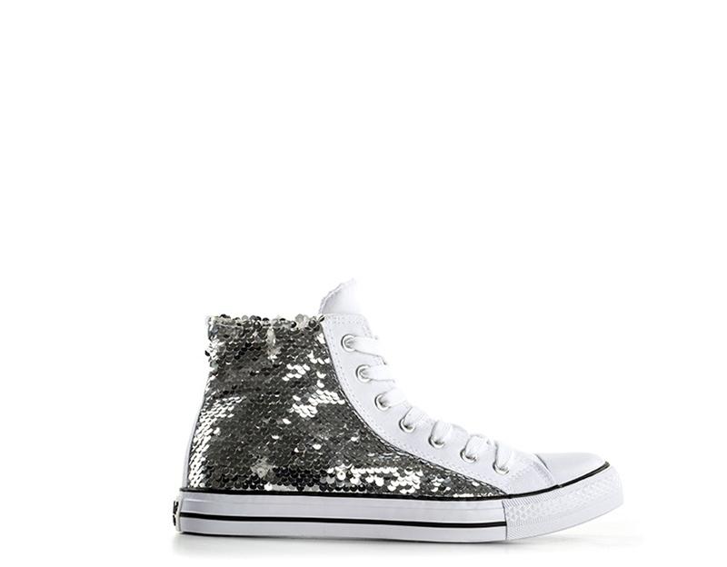 timeless design 90aec 03ebb Dettagli su Scarpe WOZ Donna Sneakers Trendy ARGENTO Gomma,Tessuto W086AR
