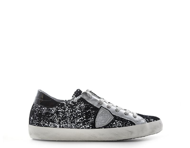 Dettagli su Scarpe PHILIPPE MODEL Donna Sneakers Trendy NERO Glitter,Pelle naturale CLLDGG6