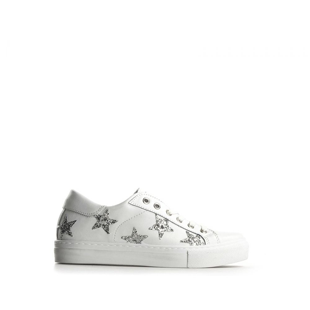 EASY PEASY Sneaker donna bianca argento in pelle glitter 83d03a61a82