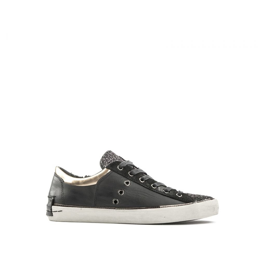 CRIME LONDON Sneaker donna nera in pelle glitter