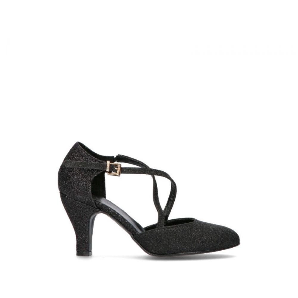 MIDELETTE Scarpa da ballo donna nera in tessuto 963a10f6f50