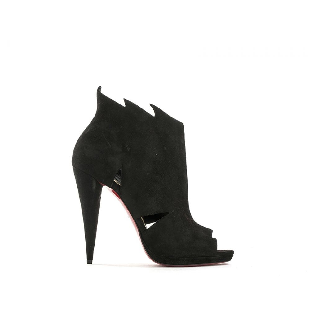 CHRISTIAN LOUBOUTIN Tronchetto donna nero in suede 322ef4d91ca
