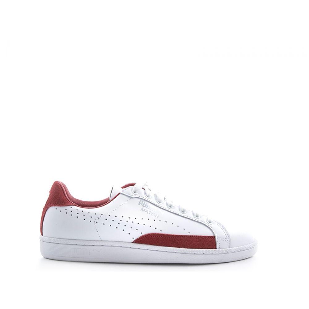 PUMA MATCH 74 PC Sneaker uomo bianca rossa in pelle e suede 82845cac48c