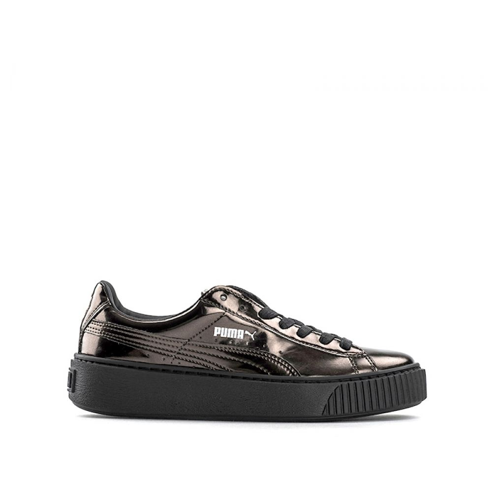 PUMA BASKET PLATFORM Creeper donna marrone laminata