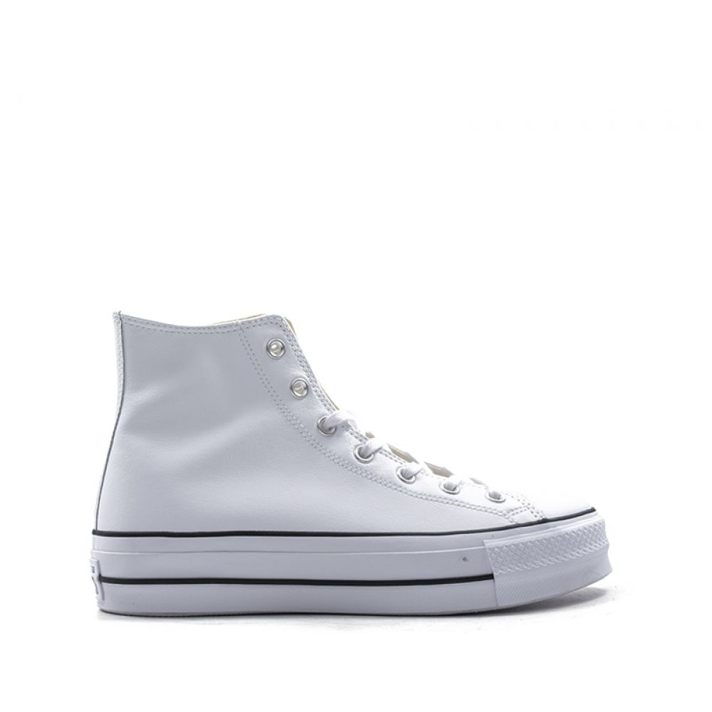 CONVERSE CHUCK TAYLOR Sneaker alta donna bianca in pelle