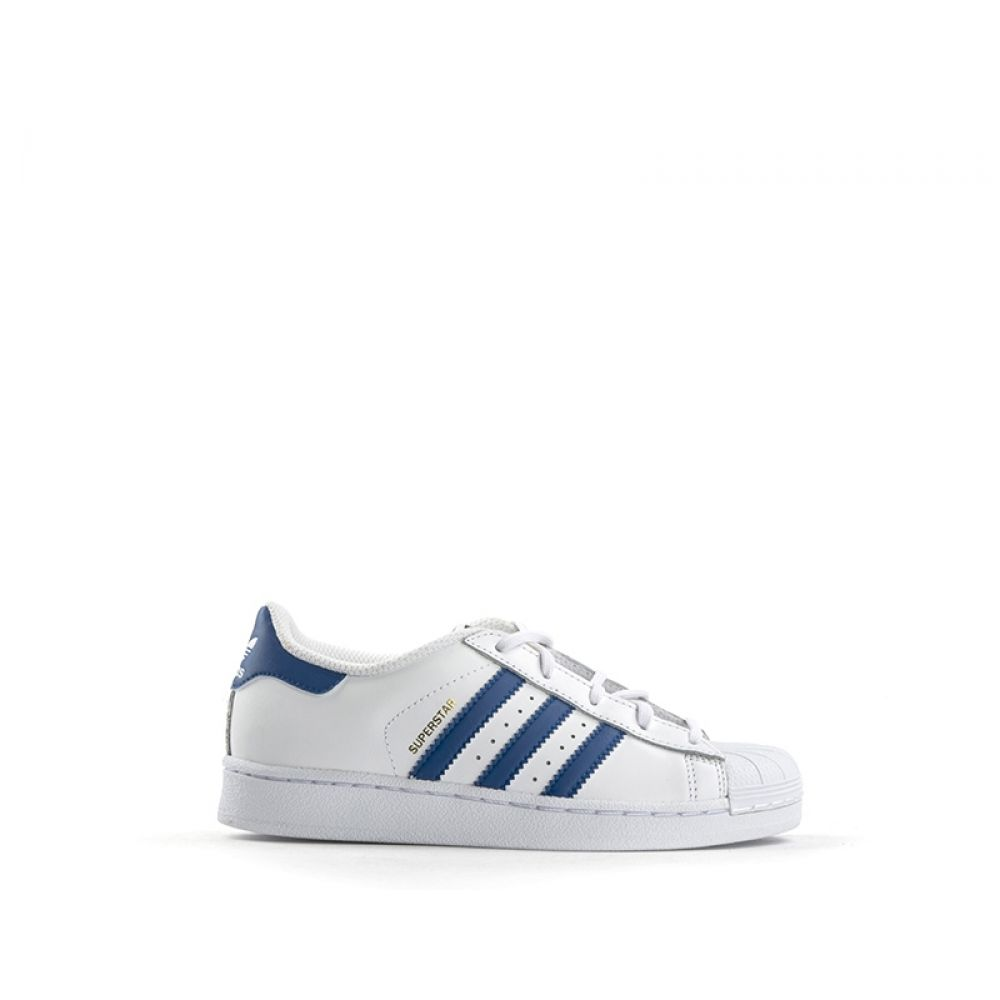 sports shoes 86a27 5db8a ADIDAS SUPERSTAR Sneaker bambino bianca blu in pelle