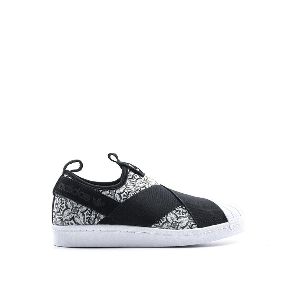 ADIDAS SUPERSTAR SLIPON Sneaker donna bianca/nera in tessuto