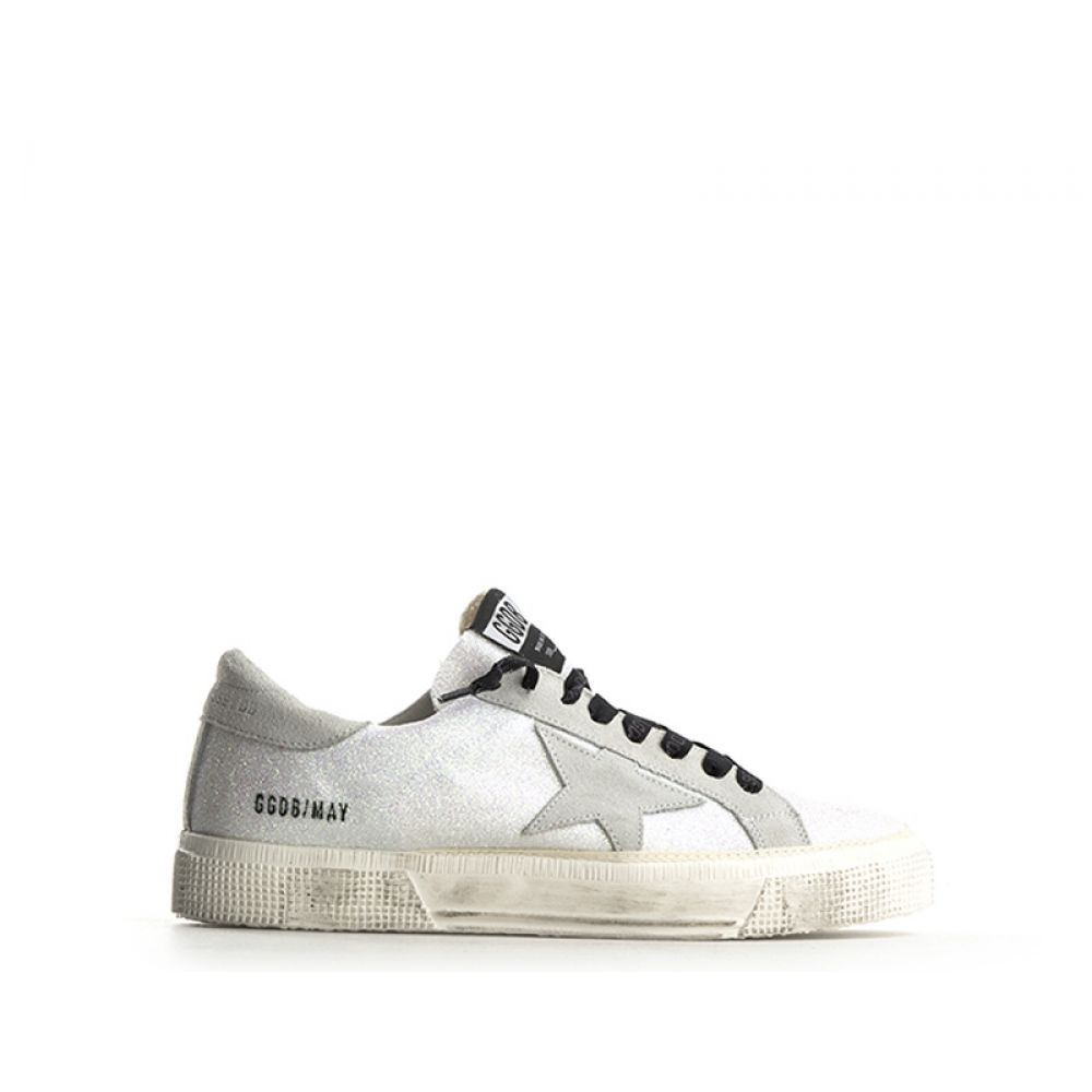 b6ad5096b8 GOLDEN GOOSE MAY Sneaker donna bianca in suede glitter