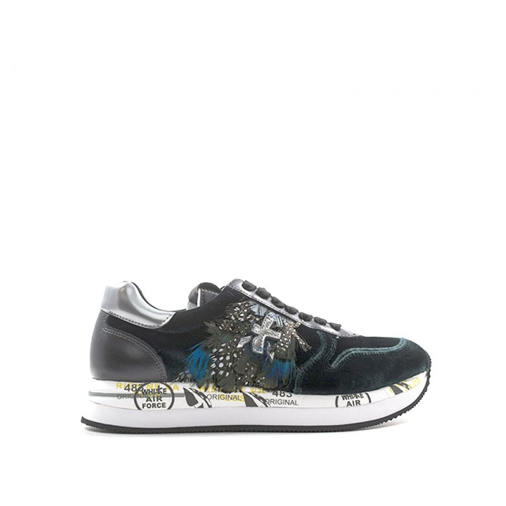 low priced b23a6 5bb7f PREMIATA Sneakers donna verde in pelle e velluto
