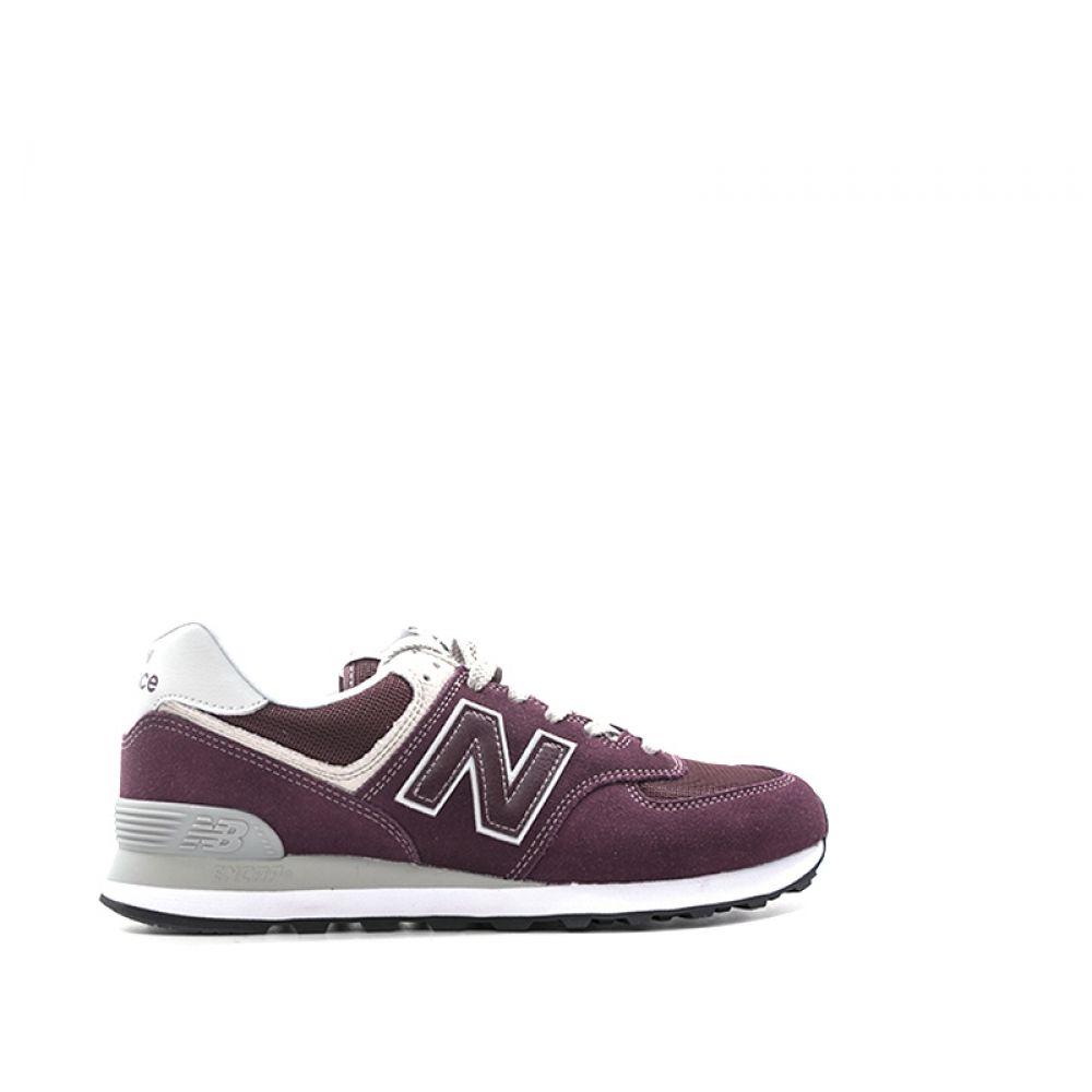 NEW BALANCE 574 Sneaker uomo bordeaux in suede e tessuto