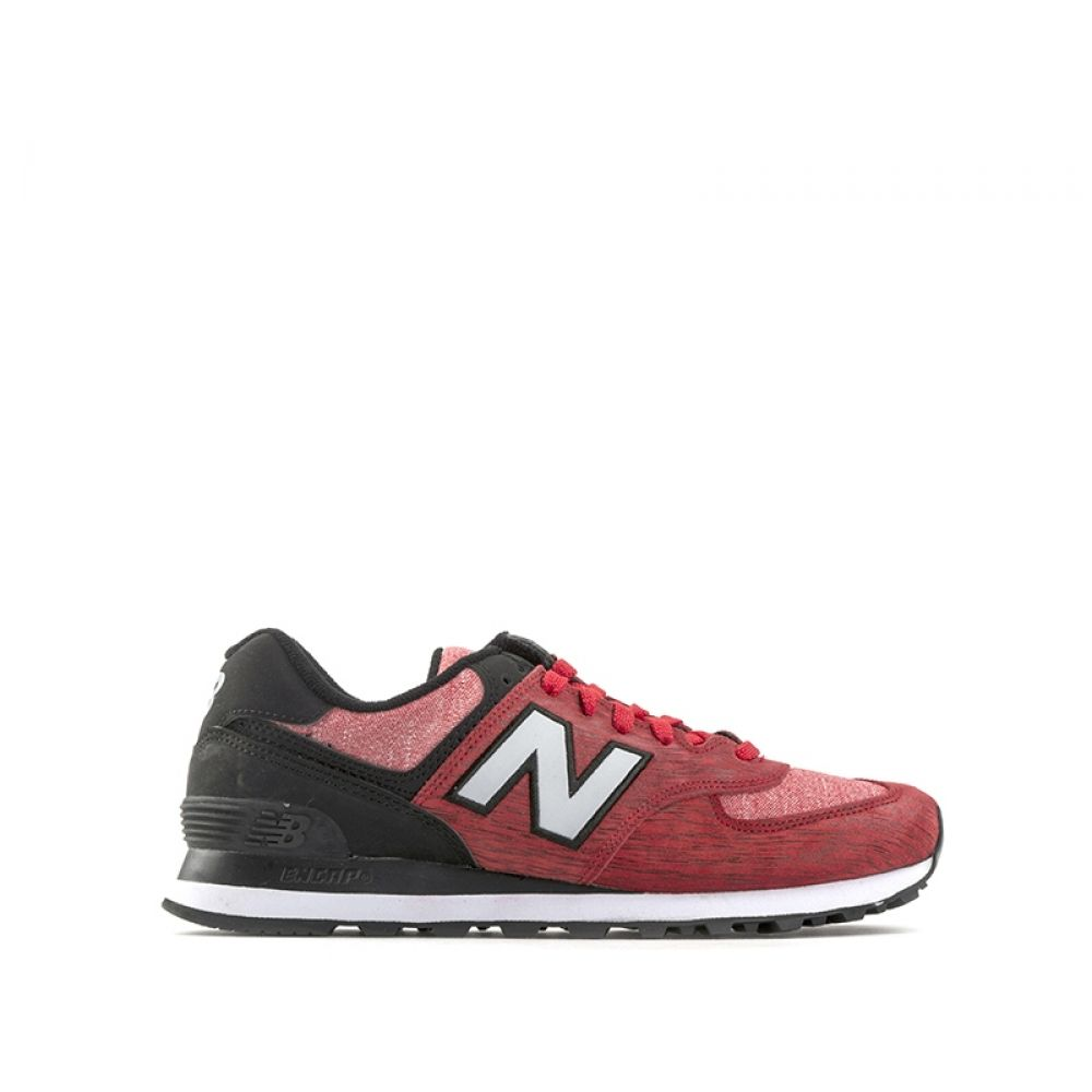 more photos f62b2 a84f7 NEW BALANCE 574 Sneaker uomo rosse in suede e tessuto