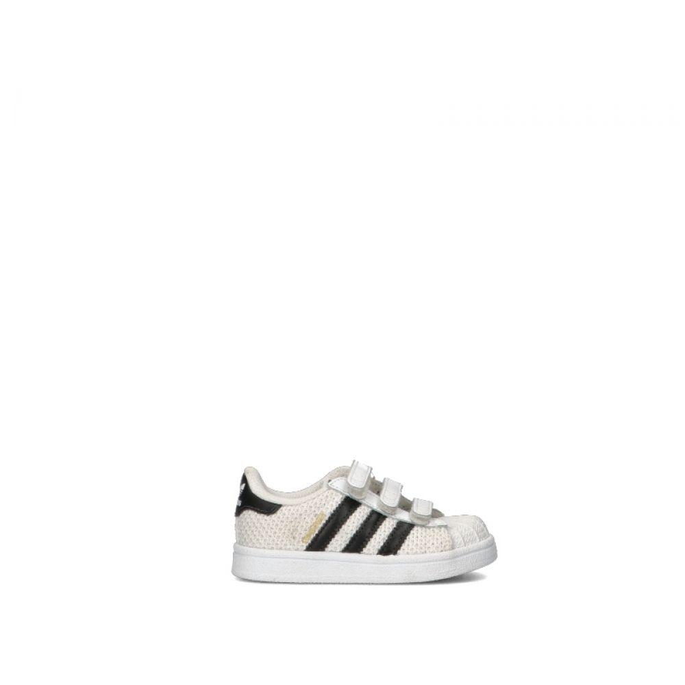 ADIDAS SUPERSTAR Sneaker bimbo bianca/nera in tessuto