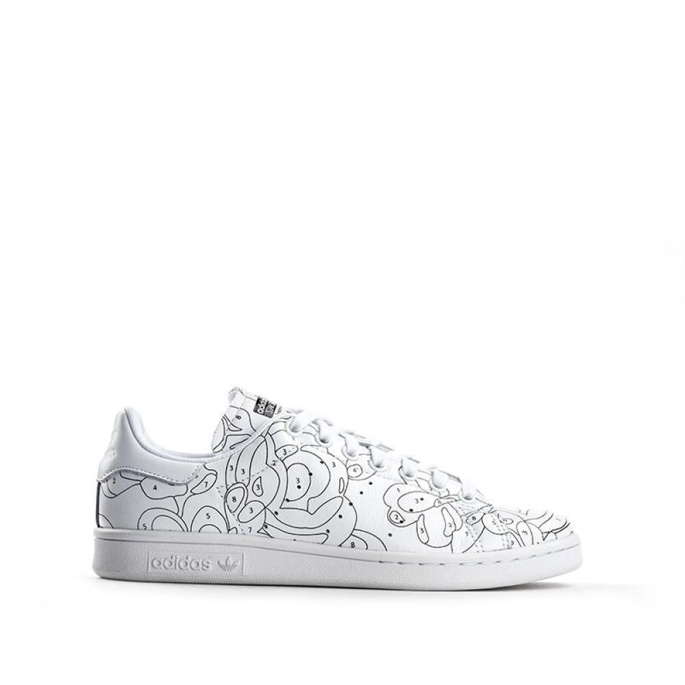 ADIDAS STAN SMITH Sneaker donna bianca in pelle disegni