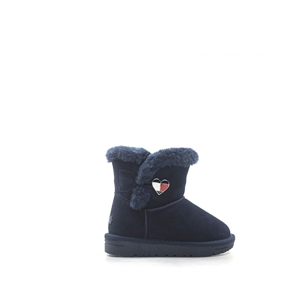 low priced 0adee c36f5 TOMMY HILFIGER Stivaletto bambina blu in suede e tessuto