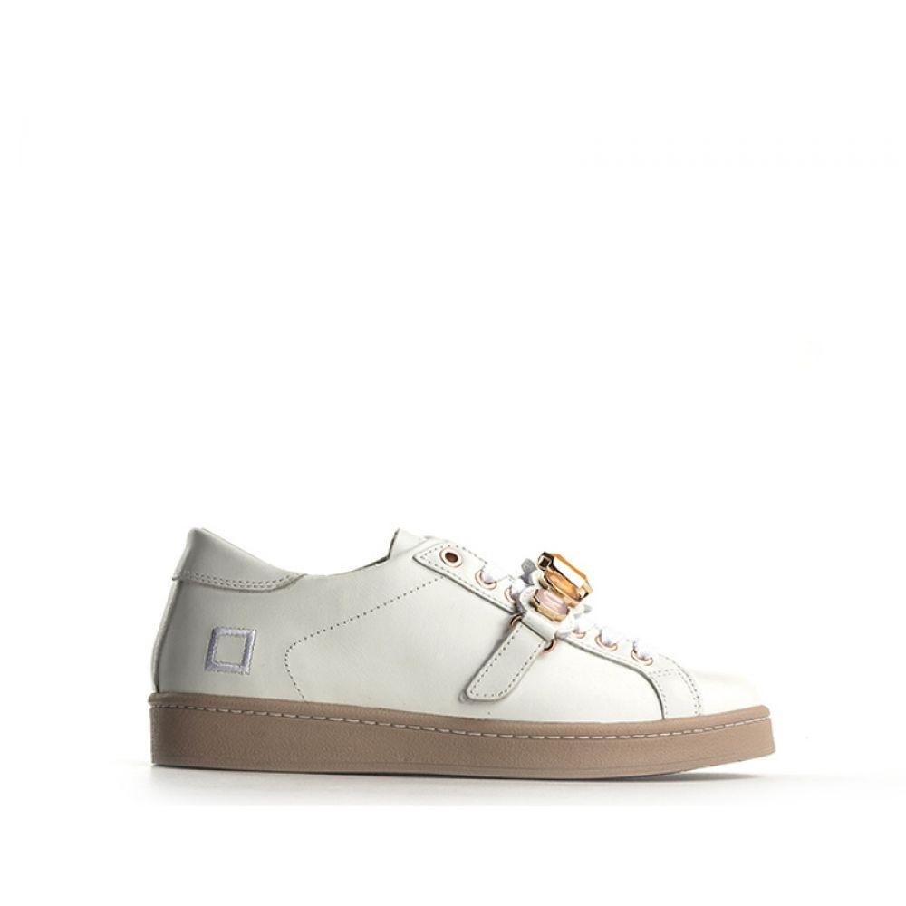 outlet store 5e165 6f7e0 DATE Sneaker donna bianca in pelle pietre