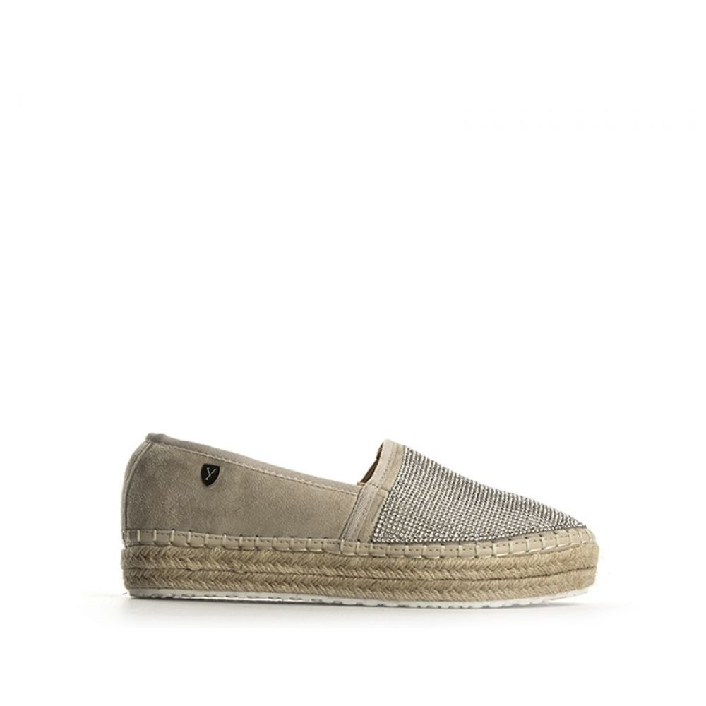 YAMAMAY Espadrillas donna beige in suede strass 49d7978447a