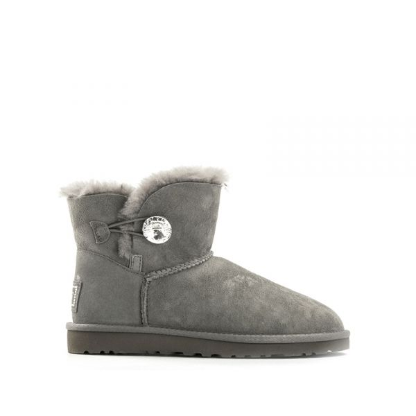 UGG W MINI BAILEY BUTTON BLING donna grigio suede Swarovski