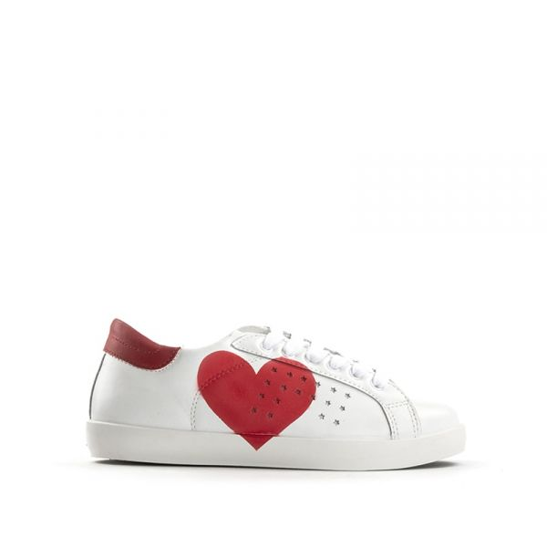 EASY PEASY Sneaker donna bianca/rossa in pelle stampa cuore