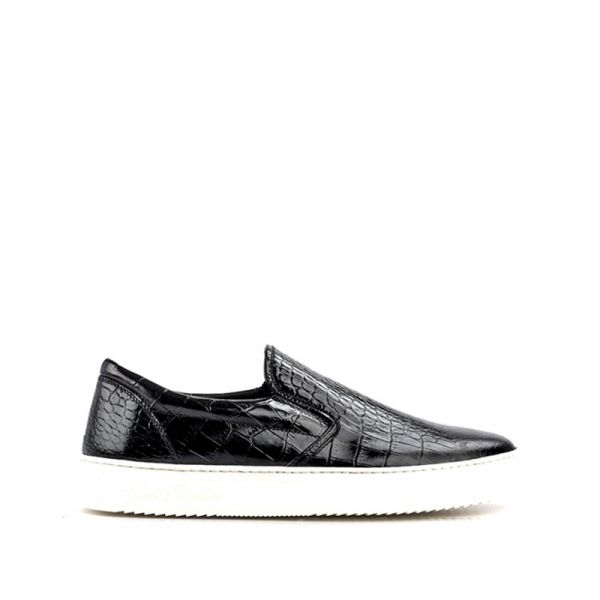 GOLD BROTHERS Slip on uomo nera in pelle