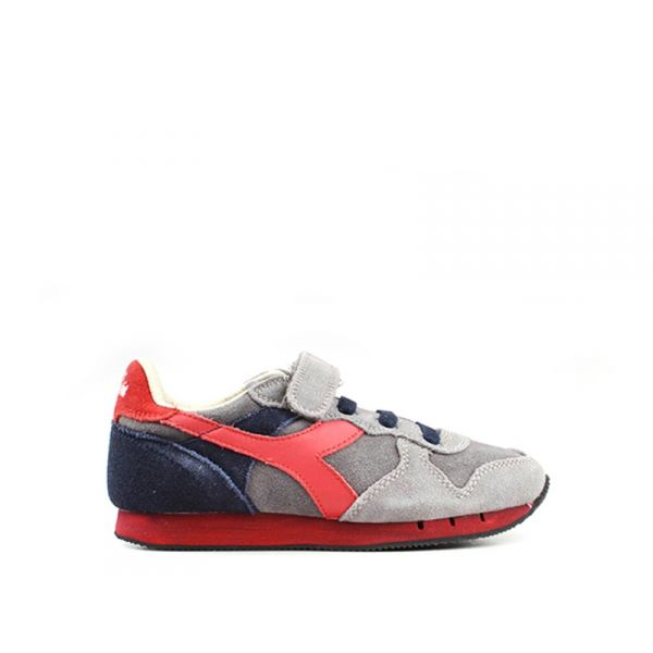 DIADORA HERITAGE TRIDENT Sneaker bimbo grigia/blu in suede