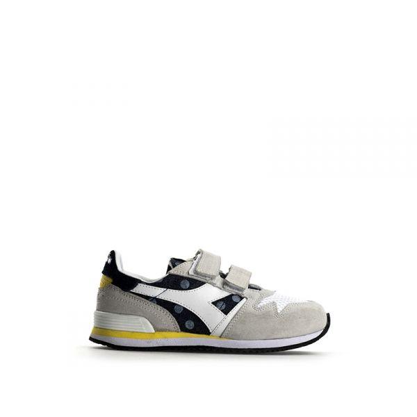 DIADORA HERITAGE Sneaker bambino grigia/blu in suede pois