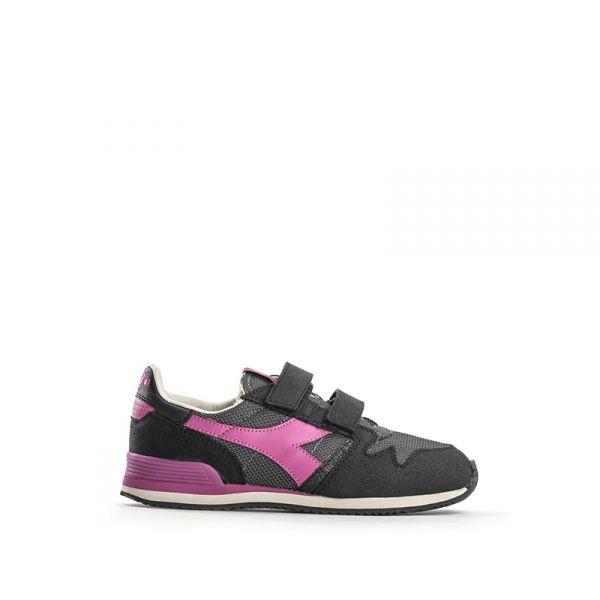 DIADORA HERITAGE Sneaker bambina nera/rosa in pelle tessuto