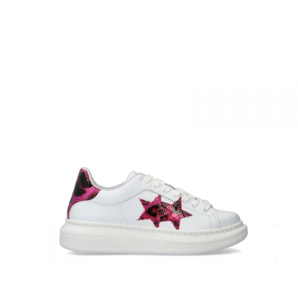 2 STAR Sneaker trendy donna bianca/fuxia in pelle