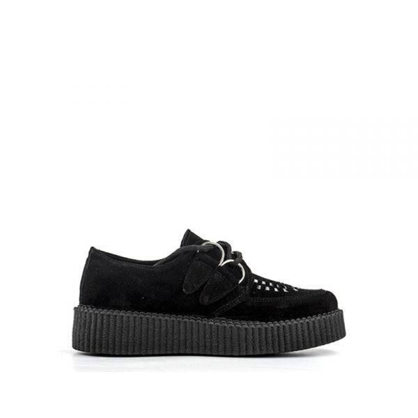 HAPPINES Creepers donna nera in pelle e tessuto
