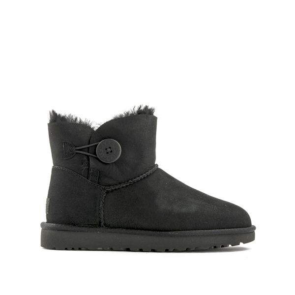 UGG W MINI BAILEY BUTTON II donna nero suede bottone