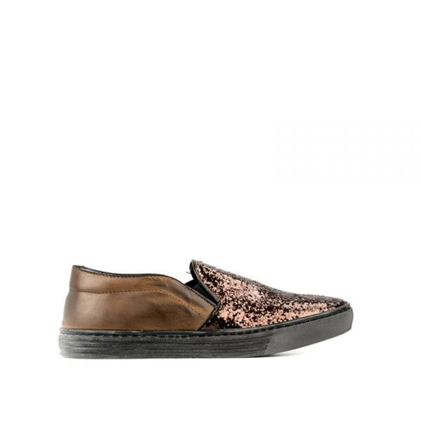 OAKOUI Slip on donna marrone in pelle con glitter