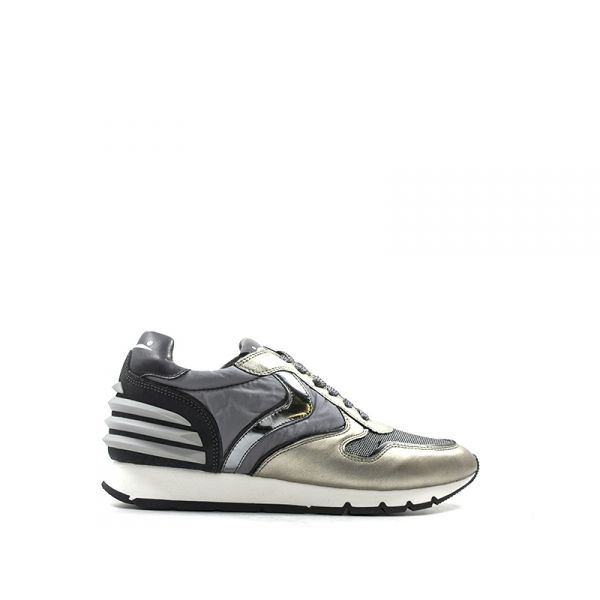 VOILE BLANCHE Sneakers donna grigia/argento in pelle