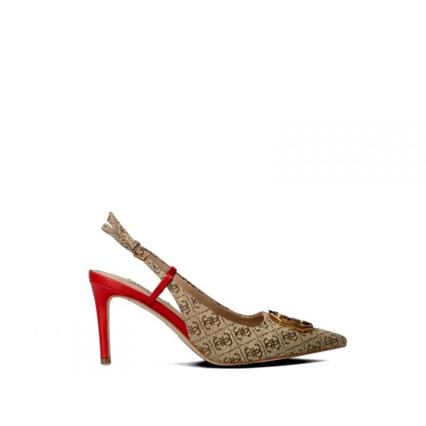 GUESS Slingback donna beige/rossa in pelle