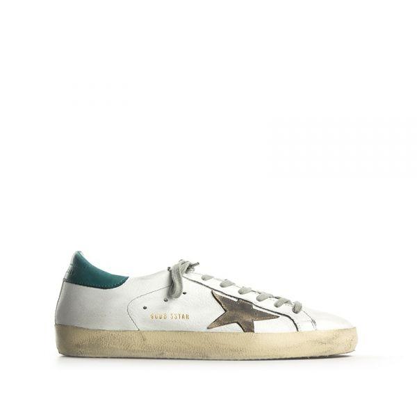 golden goose superstar sneaker uomo bianca pelle biancoverde