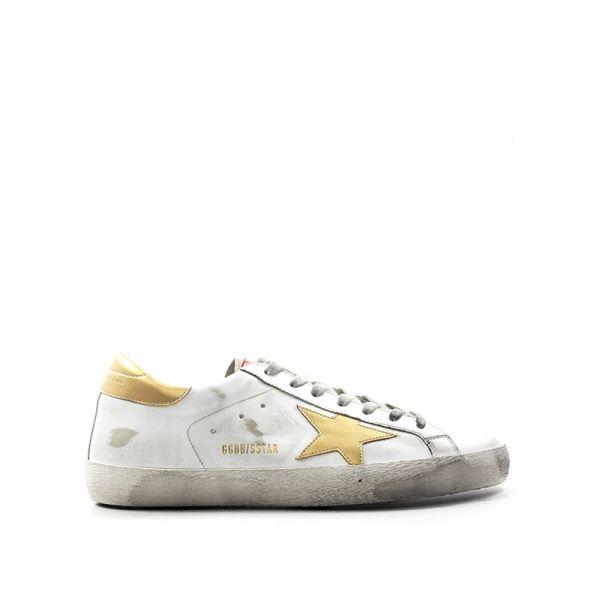 golden goose sneaker uomo biancaoro pelle bianco