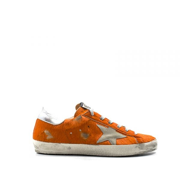 GOLDEN GOOSE SUPERSTAR Sneaker donna arancione in cavallino