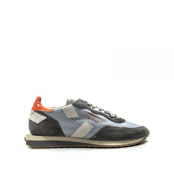 GHŌUD Sneaker uomo grigia/arancio in suede e tessuto