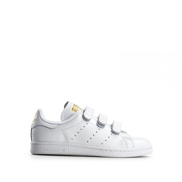 Sneaker Bianca Adidas Stan Donna Pelle Smith Strappi In