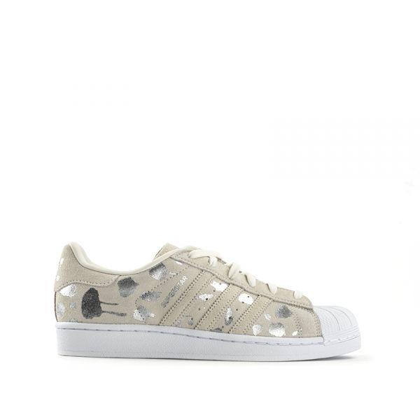 ADIDAS SUPERSTAR Sneaker donna beige in suede argento d793b1a4056