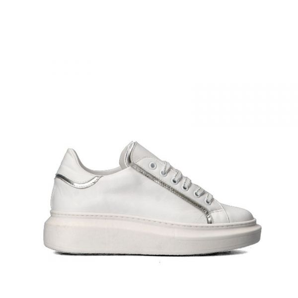 DOLCE MODA Sneakers donna bianca/argento in pelle