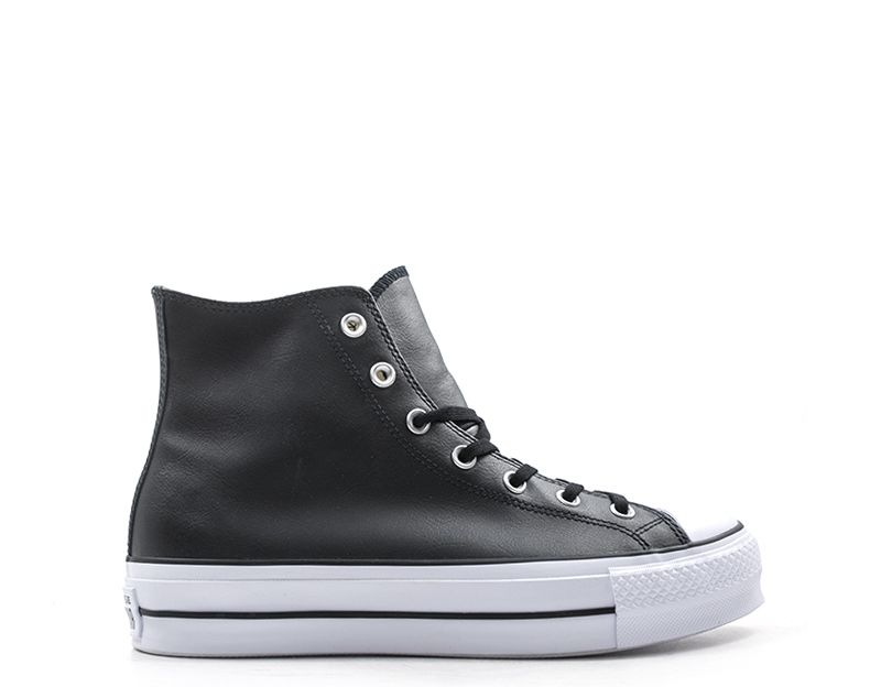 CONVERSE CHUCK TAYLOR Sneaker alta donna nera in pelle