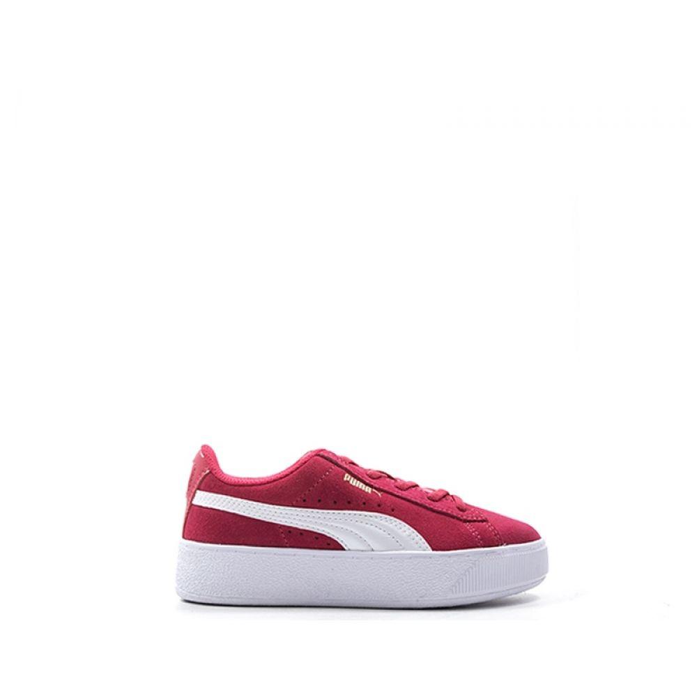 Puma Vikky Platform Sneaker Bimba Rosa bianca In Suede Rosa
