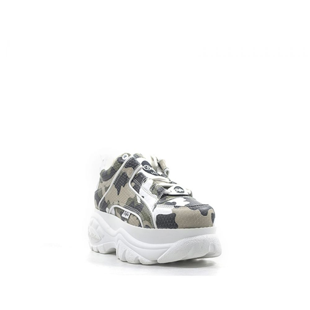 Buffalo London Sneaker Donna Bianca verde In Pelle