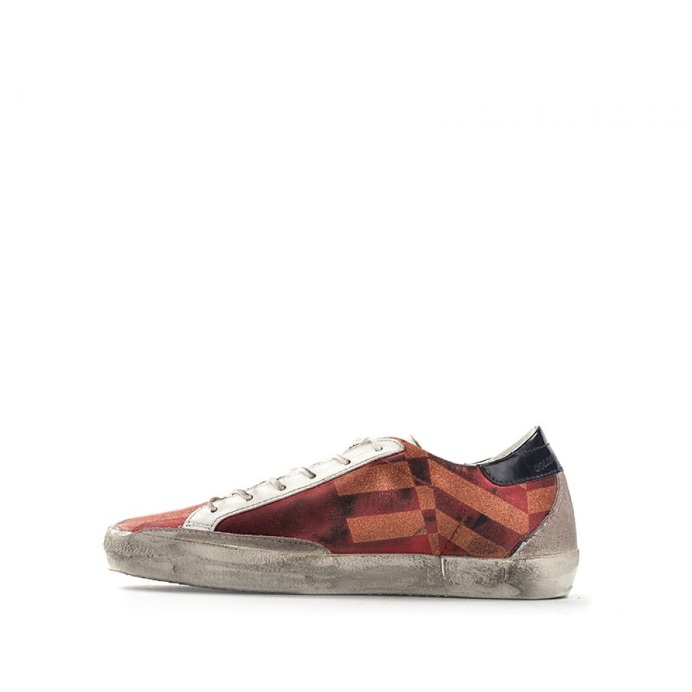 Golden Goose Superstar Sneaker Donna Rossa In Tessuto Righe
