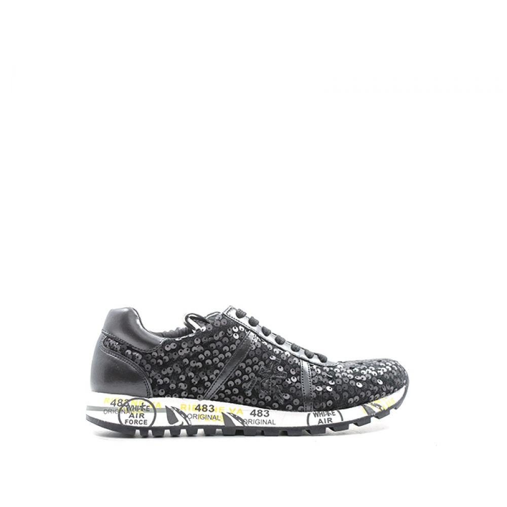 Premiata Lucy-d Sneaker Donna Nera In Suede E Tessuto