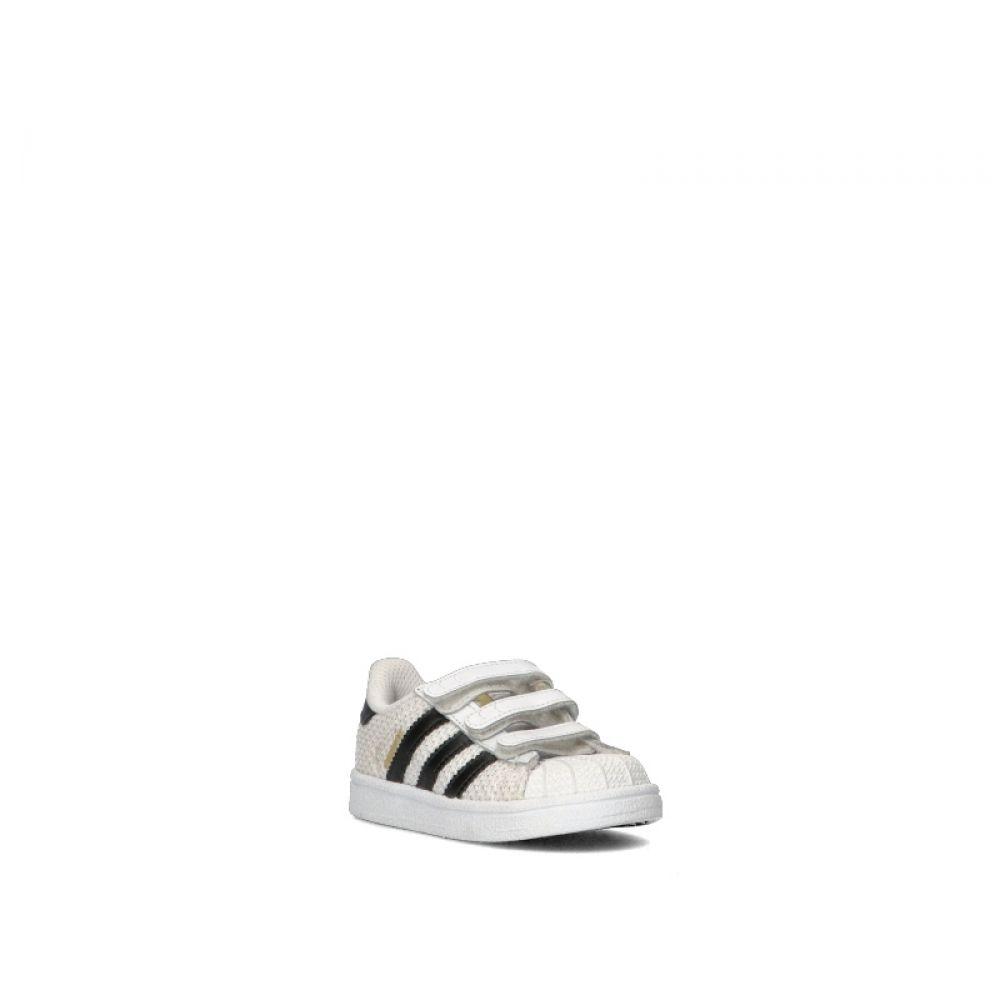 Adidas Superstar Sneaker Bimbo Bianca nera In Tessuto Bianco nero