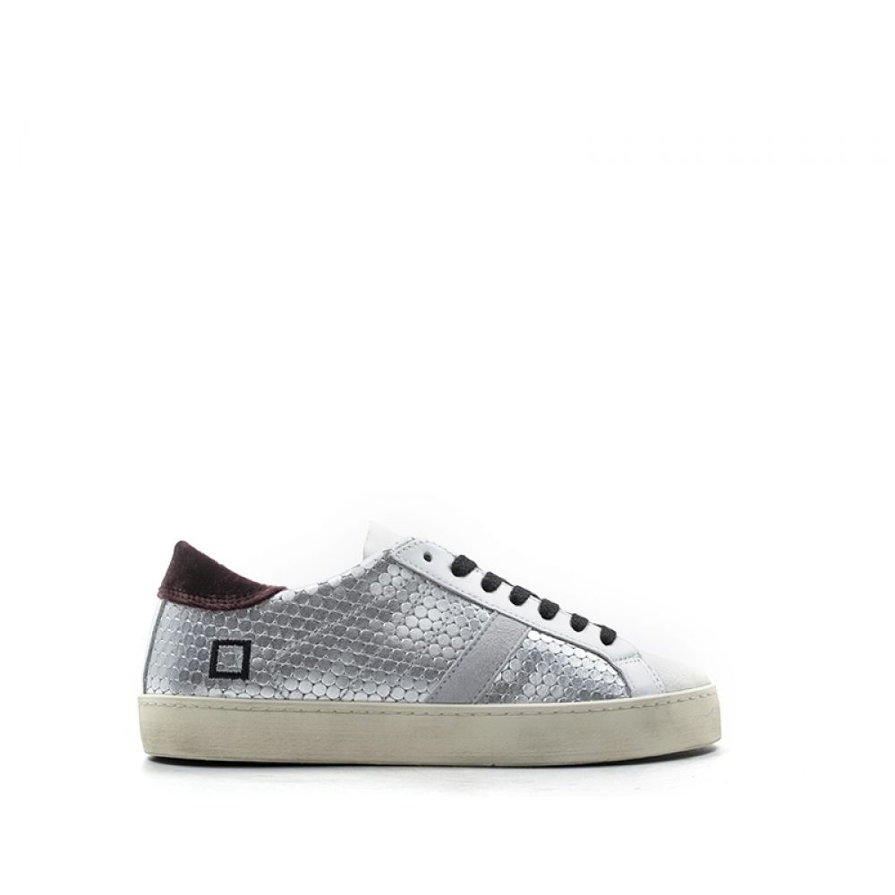 D a t e Hill Low Pong Sneaker Donna Grigia bianca In Pelle