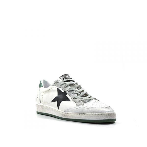 golden goose sneaker uomo biancaverde pelle bianco